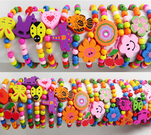 60pcs Kids Girls Wood Bracelets Children Wristbands 12 design Mix Wholesale Birthday Party Gift Jewelry Lot