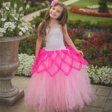 Skin Fabric Soft Nylon Mesh Designer Kids Wear Flower Girl Ball Gown Toddler Baby Birthday Girl Dress for 2 To 9 Years Children