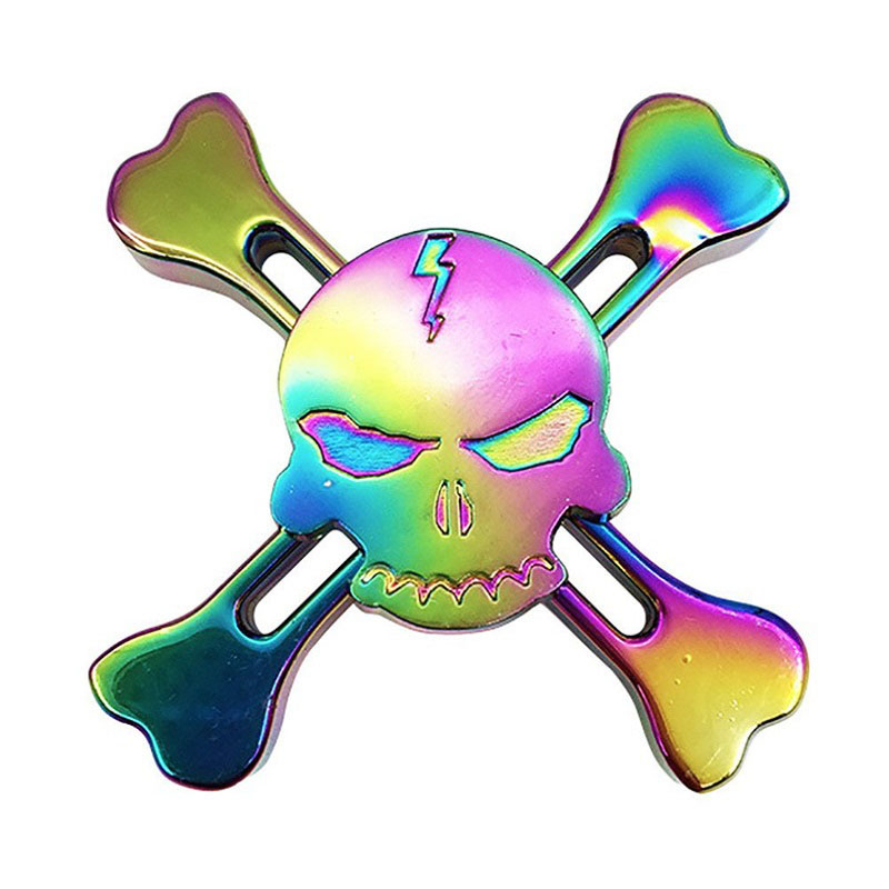 Colorful Skull EDC Sensory Fidget Spinner Torqbar Rotation Time Long Hand Spinner Autism ADHD Kids/Adult Halloween Gift