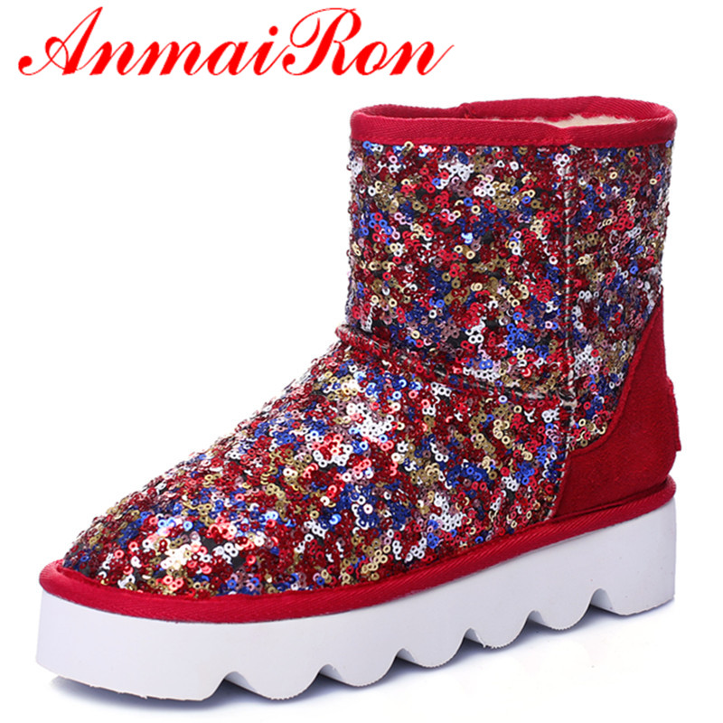 ANMAIRON Sexy Red Shoes Woman Warm Winter Snow Boots Flats Shoes Size 34-43 Round Toe Ankle Boots for Women Short Slip-on Boots<br><br>Aliexpress