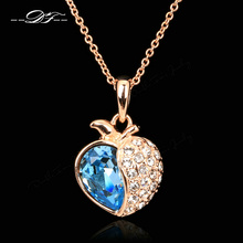 Blue Crystal Heart Necklaces & Pendants Rose Gold Color Brand Cubic Zirconia Jewelry For Women Chains Accessiories DFN050