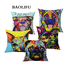 BAOLIFU Cartoon Style Decor Linen Cushion Cover Multicolor Dog Pattern Print Sofa Throw Pillow Home Decor Square Cojines A138(China)
