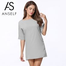 2018 Summer 3XL 4XL 5XL Plus Size Dress Women Casual Basic Dress Short  Sleeve Solid Loose Dress Ladies Mini School Dresses Girls ccfd71e123b8
