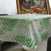 New hot-selling creative simple green leaf design home tablecloth fresh comfort kitchen coffee table hotel table cloth Custom(China)