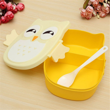 Portable Children Cute Cartoon Lunch Box Picnic Carry Tote Storage Bag Owl Food-safe Food Picnic Container