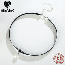 100% 925 Sterling Silver & Black Braid Heart Pendant with Clear CZ Choker Necklace For Women Chocker Colar Jewelry GXN070(China)