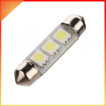 1PCS 41mm  3-Smd 5050Led C5w Xenon White Number Plate Light Festoon Bulb car light source