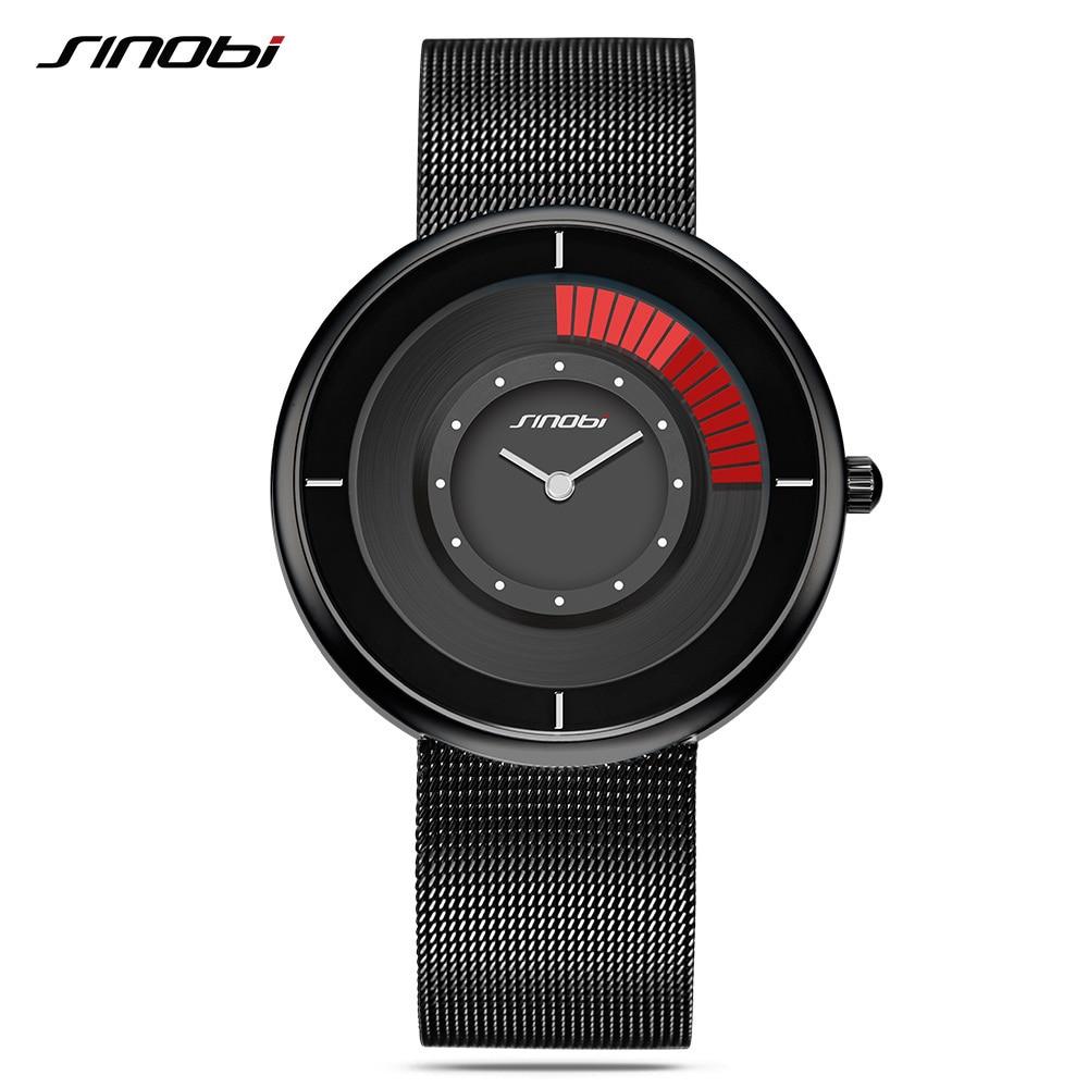SINOBI Mens Watches Top Brand Luxury Creative Watch Spinner Mens Quartz Watches Mesh Strap Wristwatches Dress Quartz Clock<br>