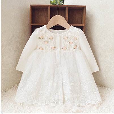 Retail-2017 autumn new born baby dress/soft and cute floral lace princess infant dress baby girls dress Honey Baby clothes pink<br><br>Aliexpress