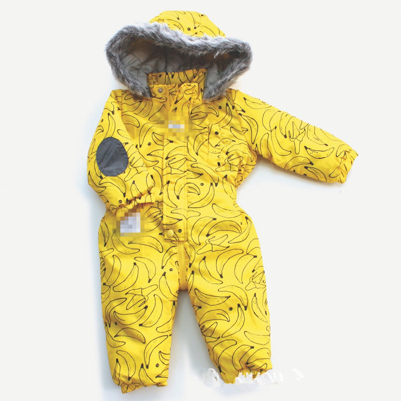 Newborn Baby Rompers 2016 Thicken Fleece Winter Warm Jumpsuits Toddlers Infant Climbing Parkas Jackets Banana Print Overalls <br>