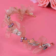 Manufacturers wholesale fashion new alloy imitation pearl silk cloth headband bridal tiara wedding dress accessories(China)