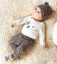 3 PCS /Set 2017 New Baby Girl Boy Clothes Toddler Leopard Clothing Set For Newborn Baby Long Sleeve T Shirt+Pants + Hat(China)