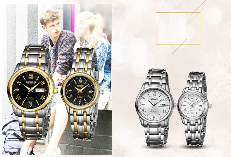 1 Pair GUANQIN Lovers Mechanical Watches Couple Automatic Watch Men Women Clock Auto Date Luminous Waterproof Brand Watch Men (12)