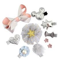 1 piece New Fashion Different Designs Heart Flower Crown Fur Ball Stars Hair Bows With clip bow for girls hair accessories 726