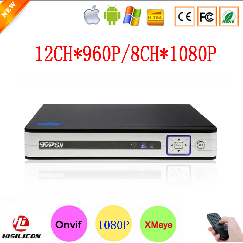 New Hisi Chip XMeye APP Silver Panel 8CH 1080P,12CH 960P Digital 8 Channel 1080P Onvif IP NVR Free Shipping <br>