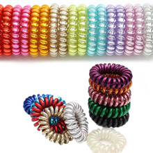 10 Pcs/lot Shining Bling Color Telephone Cord Hair Ties Women Adult Hair Accessories