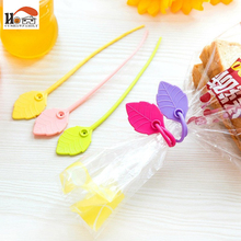 5 pcs/lot New hot sale Household practical color leaves shape 17cm silicone Wire Cable Tie Food bag sealing clamp high quality(China)
