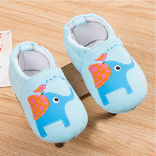 Baby Shoes Infant Toddler Crib Shoes Soft Sole Elephant Cartoon Print Kid Girls Boy Baby Cotton First Walkers Shoes 0-12M