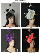 Wholesale Arrival. sinamay Feather Fascinator Hat for Melbourne cup,Wedding.Kentucky derby,Races.ivory,black,purple,coral pink.(China)