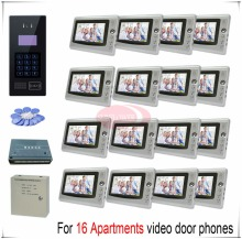 Touch room number For 16 apartments video door phones intercom systems support Inductive Card/Password unlocking door bells