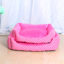 Fine joy Pet Bed Kennel House Rose red Dot Printing PP Cotton Velvet Canvas Cover Pets Mats Little Cat Dog Pet Sleeping Product