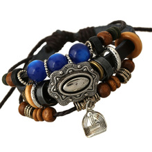 New Korea Style vintage Beads Crystal leather bracelets&bangles promote sales Fashion jewelry wholesale Small Hat Bracelet men