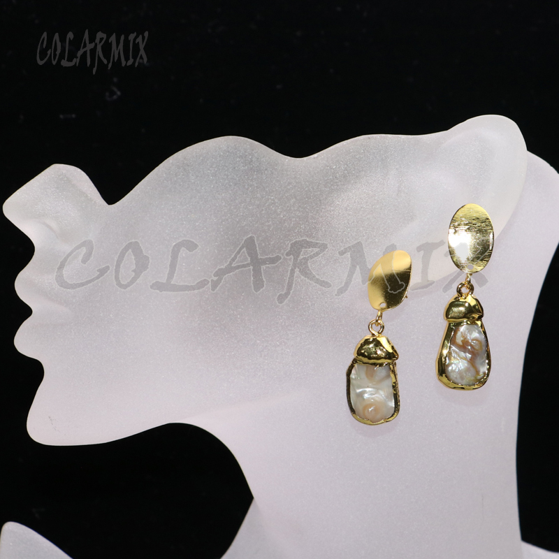 4 Pairs gold color plated pearls earrings irregular pearls earrings  wholesale  jewelry earrings gift for lady