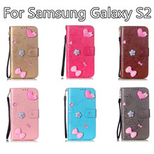 Hot Sales Diamond Love Shape For Samsung Galaxy S2 Have Bracket Practical Resistance To Fall Retro PU Leather Protective Cover