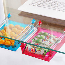 New Fridge Storage Rack Layer Partition Refrigerator Storage Holder Pull-out Drawer Organizer Kitchen Shelf Rack