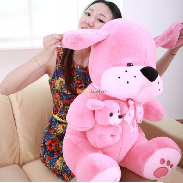 Fancytrader 39 / 100cm Funny Big Giant Stuffed Plush Lovely Mom Dog and Kid Toy, 3 Colors Available, Free Shipping FT50846<br><br>Aliexpress