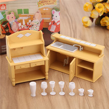 DIY Miniatures Furniture Household Kitchen Dresser Cabinet Dressing Table Sets For Mini Dollhouse Acessories Decor Gift Toy