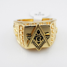 24K Gold Rings Titanium Masonic Rings for Men Free Shipping ,Master Masonic Signet Rings, Freemason Tungsten Men Ring Jewelry