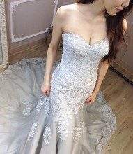 Buy Real Photo Sweetheart Bridal Gowns Luxury Croset Bodice Lace Top Mermaid Wedding Dresses 2017 Lace Gray Wedding Gown Plus Size for $175.12 in AliExpress store