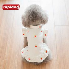 Hipidog Classic White Pet Dog Cat Hoodie Coat Autumn Spring Cute Printed Crown Skirt Dress Apparel for Teddy Poodle Small Dogs(China)