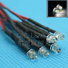 Hot sale 100x 3mm Prewired LED High bright White 20cm 12V Pre Wire Flat top DIP LED DIP LED
