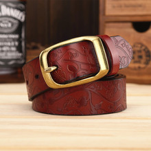 Italian imported material couple models casual leather men and women Cowhide belt ladies embossed leather belt does not fade