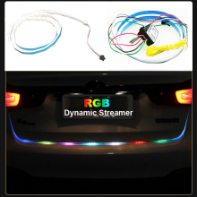 120cm Car Styling RGB LED Strip Lighting Rear Trunk Tail Light RGB Dynamic Streamer Brake Turn Signal Leds Warning Lights Strips(China)