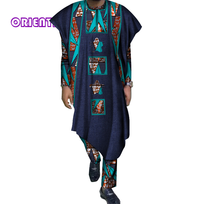 Costume Men Set Long Sleeve Shirt Ball Gown and Pants Set Traditional African Bazin Riche Print Tops Gown and Trousers WYN60