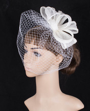 Fancy color sinamay fascinator headwear colorful mesh bridal veils wedding show hair accessories millinery cocktail hats MYQ100