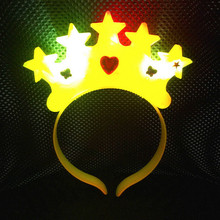 Women Girls Light-Up Crown Star Headband Blinking LED Flashing Headwear Kids Adult Carnival Party Hair Accessories New Year(China)