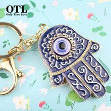 Hamsa Hand Jewelry Fashion Crystal Blue Evil Eye Sliver Keyring Hamsa Fatima Hand Duplex Alloy Keychain For Men Women(China)