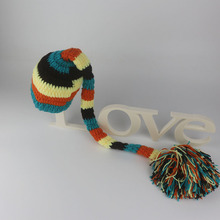 Crochet hat for baby photography props pompom pattern long tail cap newborn photo