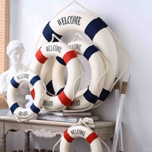 "Mediterranean DIY ""Welcome"" Wall ornament Life Buoy Foam Crafts Living Room Nautical DecorPub Home Wall Foam Ring Decoration(China)"