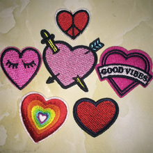 2017year New arrival 1PC red heart summer Iron On Embroidered Patch For Cloth Cartoon Badge Garment Appliques DIY Accessory