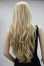 Classic Silky  blonde Long wavy hair wig  Free shipping