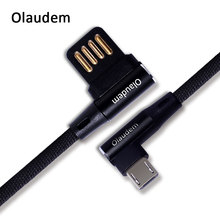 Olaudem Mobile Phone Cables Micro USB Cable Fast Charging Nylon Micro USB Cable 90 Degree Android Data Cables CB032