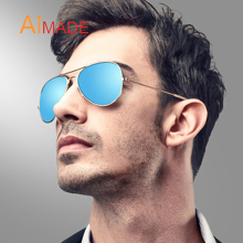 Aimade Men Cool Glass Aviation Polarized Sunglasses Women Classic Brand Designer Rose Gold Mirror Sun Glasses For Male Driving(China)