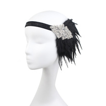 Speakeasy Stunning Art Deco Vintage Black Coque Silver Rhinestone Beaded Applique Feather Headband Fabulous Flapper Headband