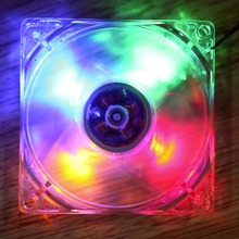 Hot Promotion 12cm PC Computer Clear Case Quad 4 Blue/RED/Colorful LED Light 9-Blade CPU Cooling Fan 12V