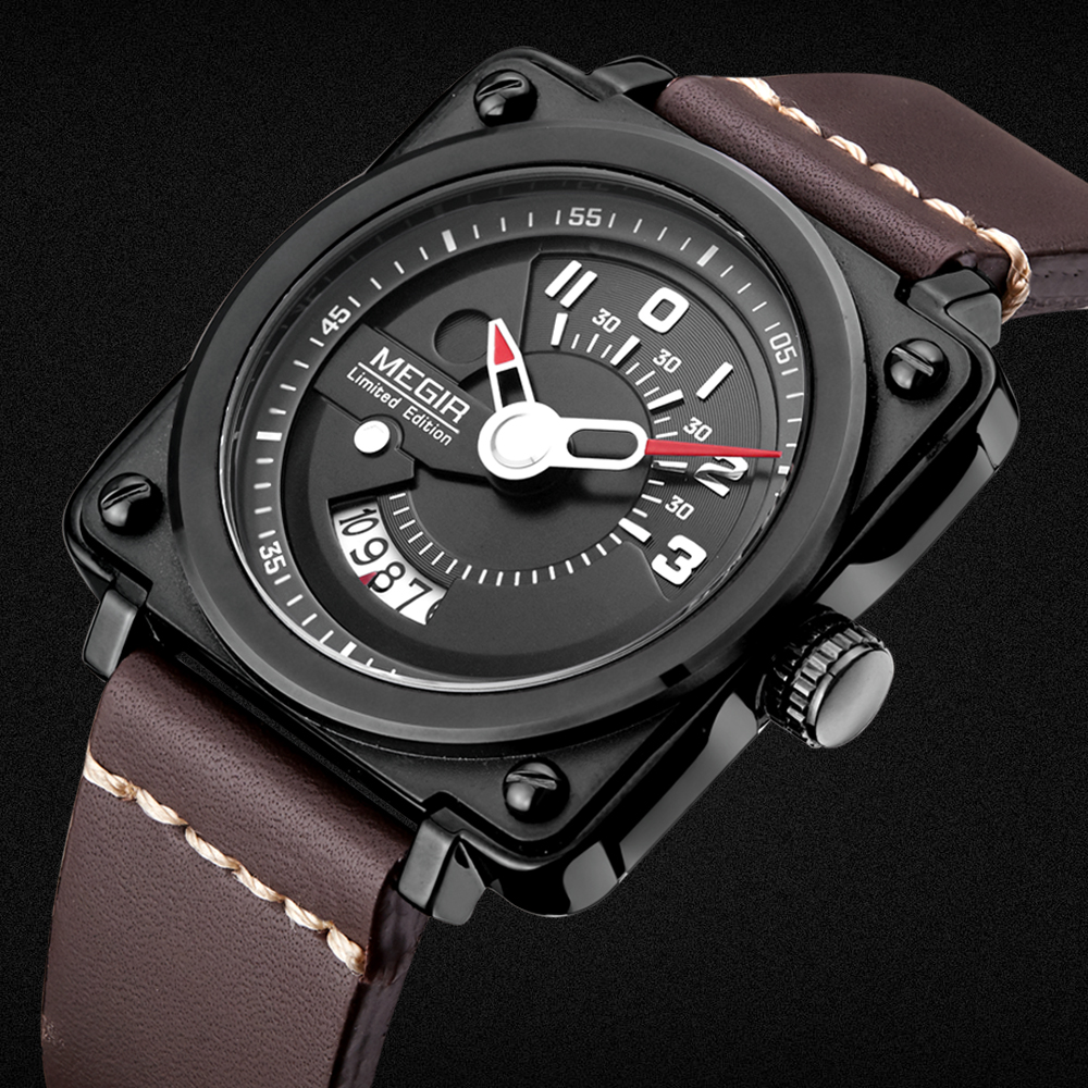New Design Luxur Brand MEGIR Watches men Sports Quartz-watch Casual Leather Mens Water-resistant Wrist watch Military Clock man<br>